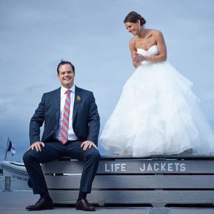 Bride and groom photo at Larchmont Yacht Club wedding in New York.